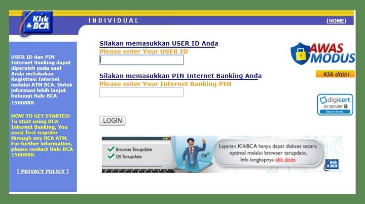 Mengatasi Lupa Pin Melalui Website Resmi Bca
