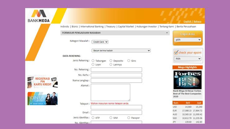 Form Pengaduan Masalah Call Center Kartu Kredit