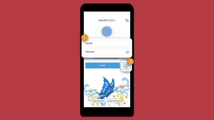 1.Pertama Login ke aplikasi Mandiri Online menggunakan akun atau sidik jari.