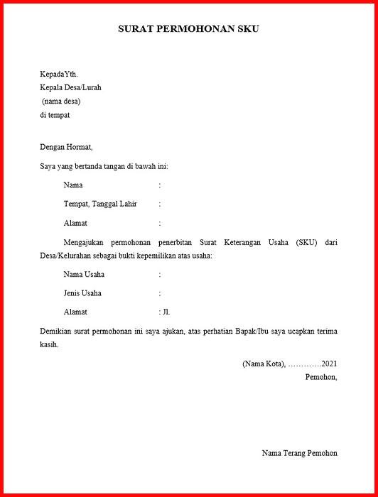 Contoh Surat Permohonan Sku Untuk Pengajuan Kur