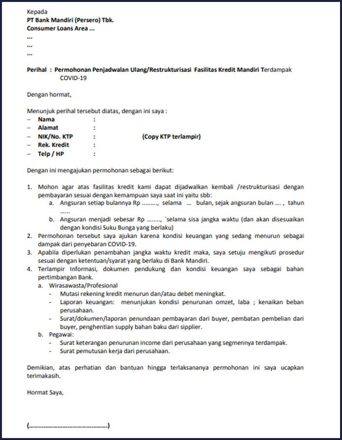 Formulir Permohonan Restrukturisasi Angsuran Kpr Bank Mandiri