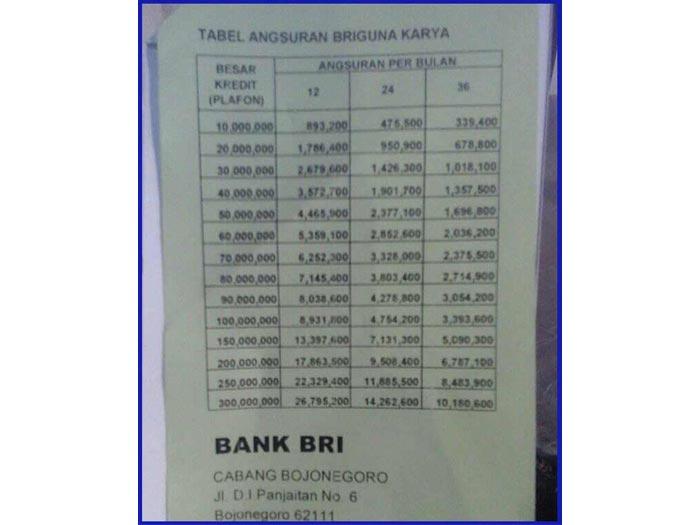 Tabel Angsuran Pinjaman Bri 100 Juta 2021 3