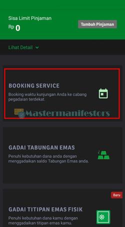 3 Tekan Menu Booking Service