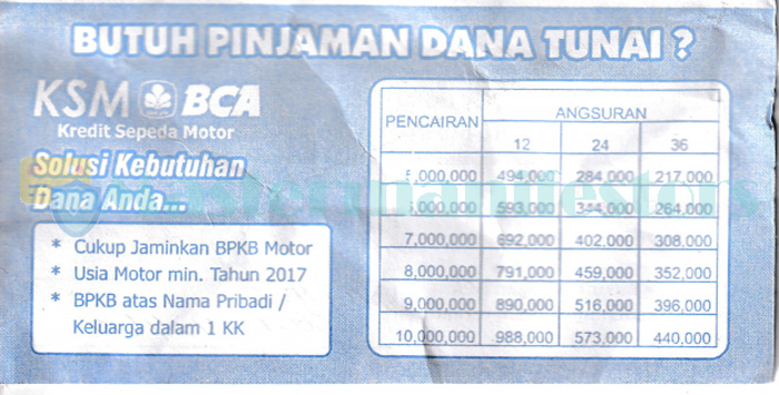 Tabel Angsuran Pinjaman Ksm Bca 2021