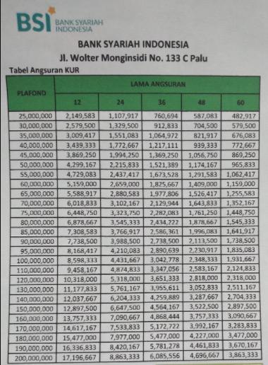 Tabel Angsuran Usaha Mikro