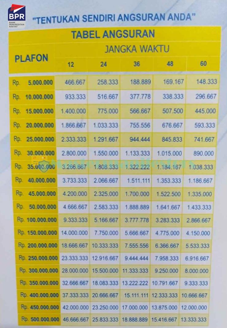 10 Tabel Pinjaman BPR 2021 : Jenis, Syarat, Bunga & Biaya