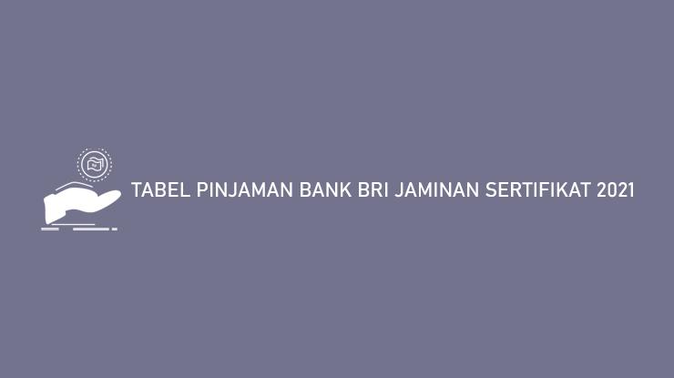 Tabel Pinjaman Bank BRI Jaminan Sertifikat 2021