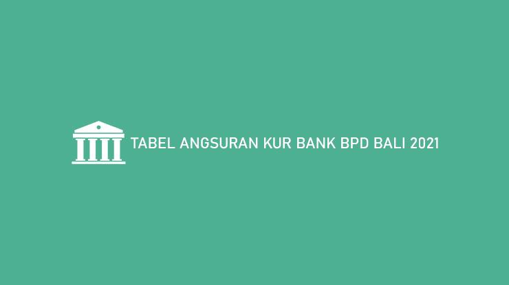 Tabel Angsuran KUR Bank BPD Bali 2021