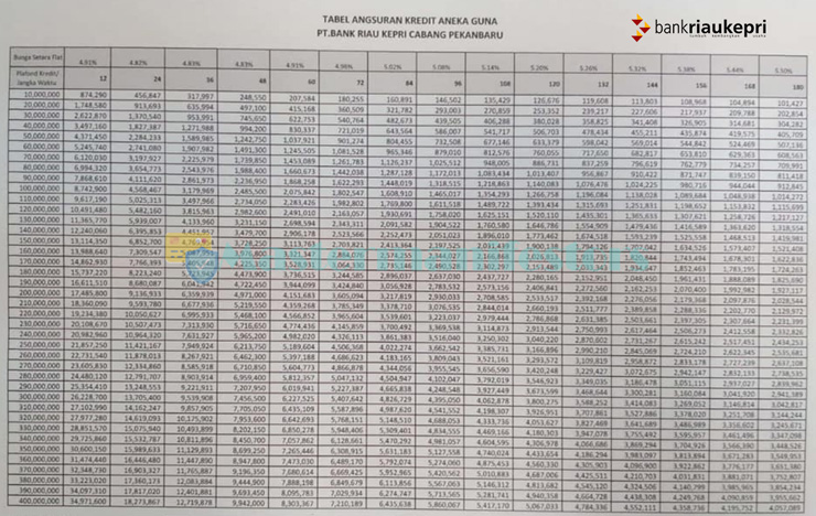 Tabel Pinjaman Bank Riau Kepri 2