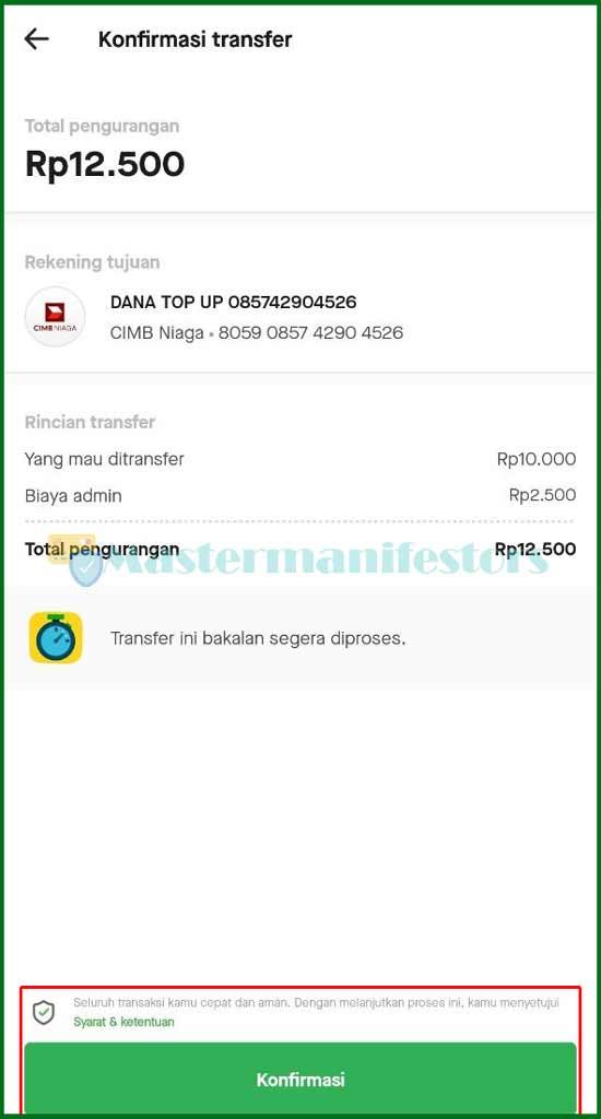 7 Konfirmasi Transfer GoPay