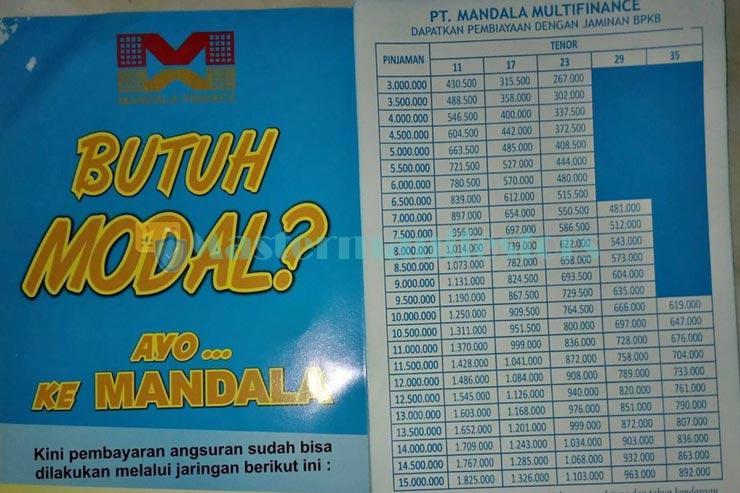 Tabel Angsuran Mandala Finance 2021 1