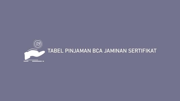 Tabel Pinjaman BCA Jaminan Sertifikat