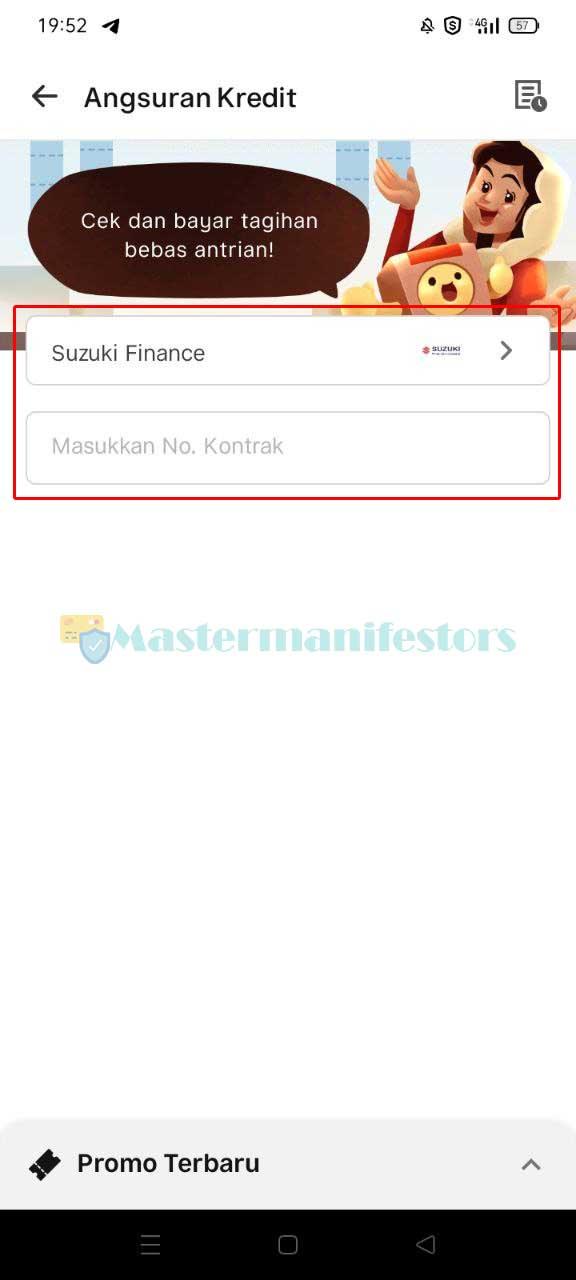 Berikutnya pilih Suzuki Finance di kolom Penyedia Jasa dan masukkan Nomor Kontrak.