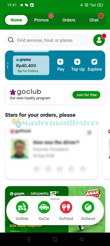 Pertama bukalah aplikasi Gojek.