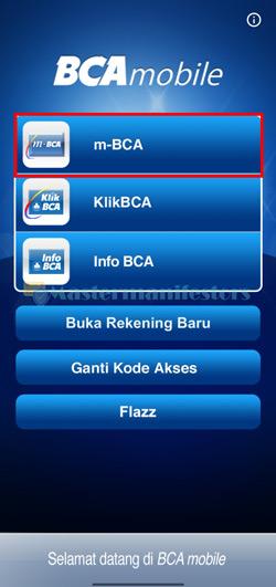 Pilih Menu m-BCA