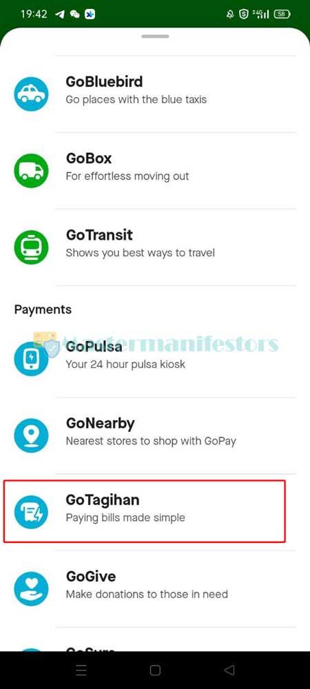 Selanjutnya klik menu GoTagihan.
