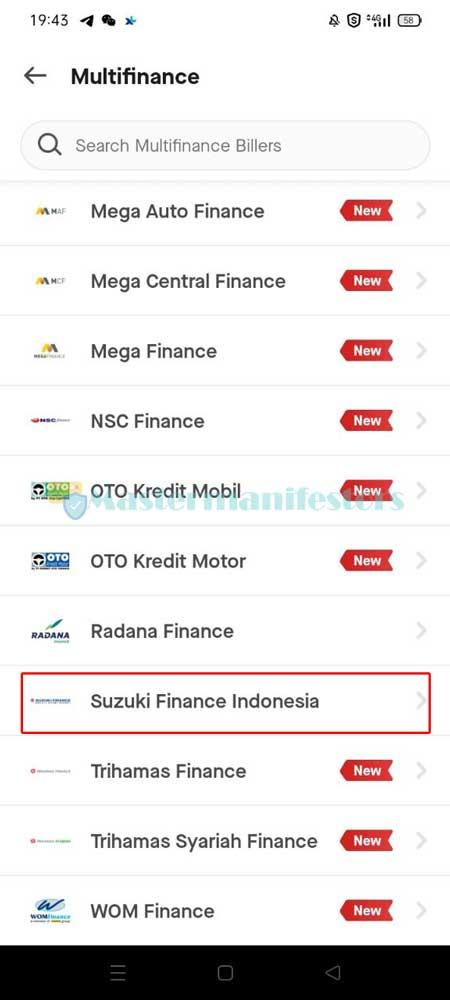 Setelah itu pilihlah Suzuki Finance Indonesia.