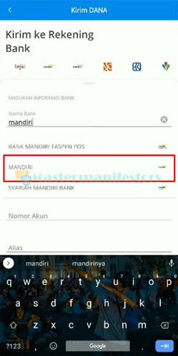 Masukkan Nama Bank Mandiri