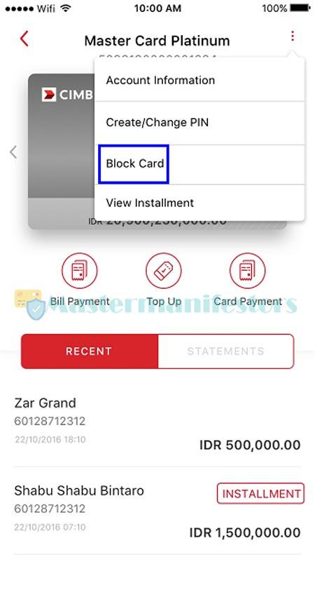 Pilih menu Block Card.