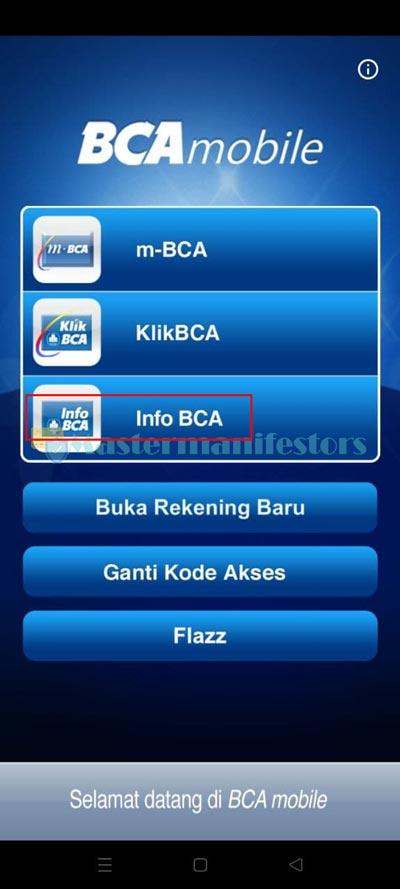 Pilih Menu Info BCA