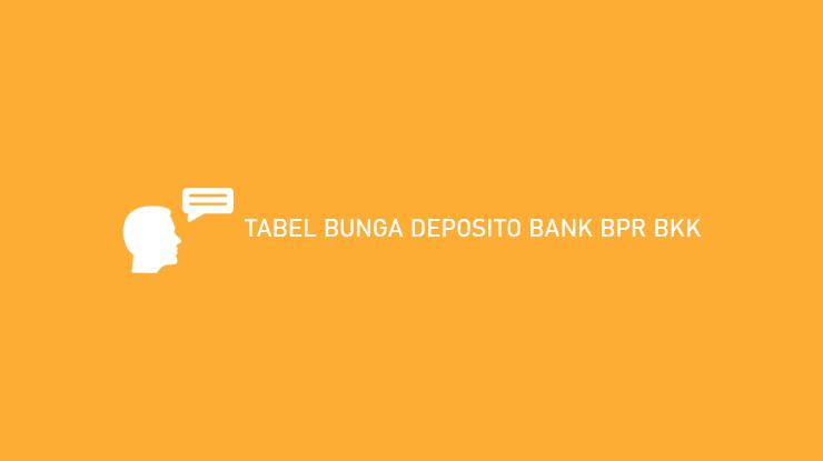 Tabel Bunga Deposito Bank BPR BKK Utama
